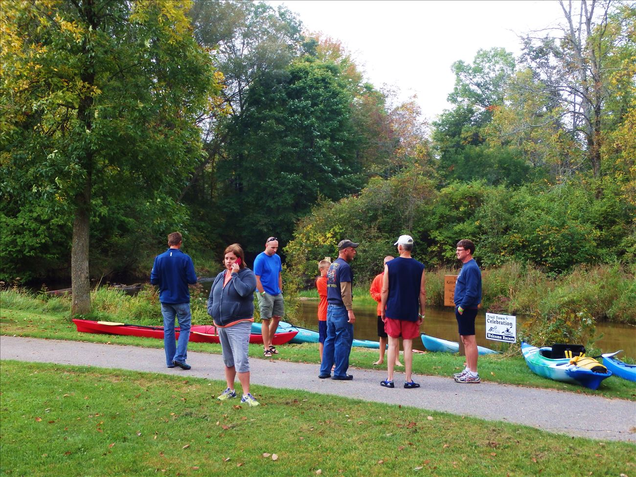 Paddlers getting ready to launch at the White Cloud Rotary Park Put In