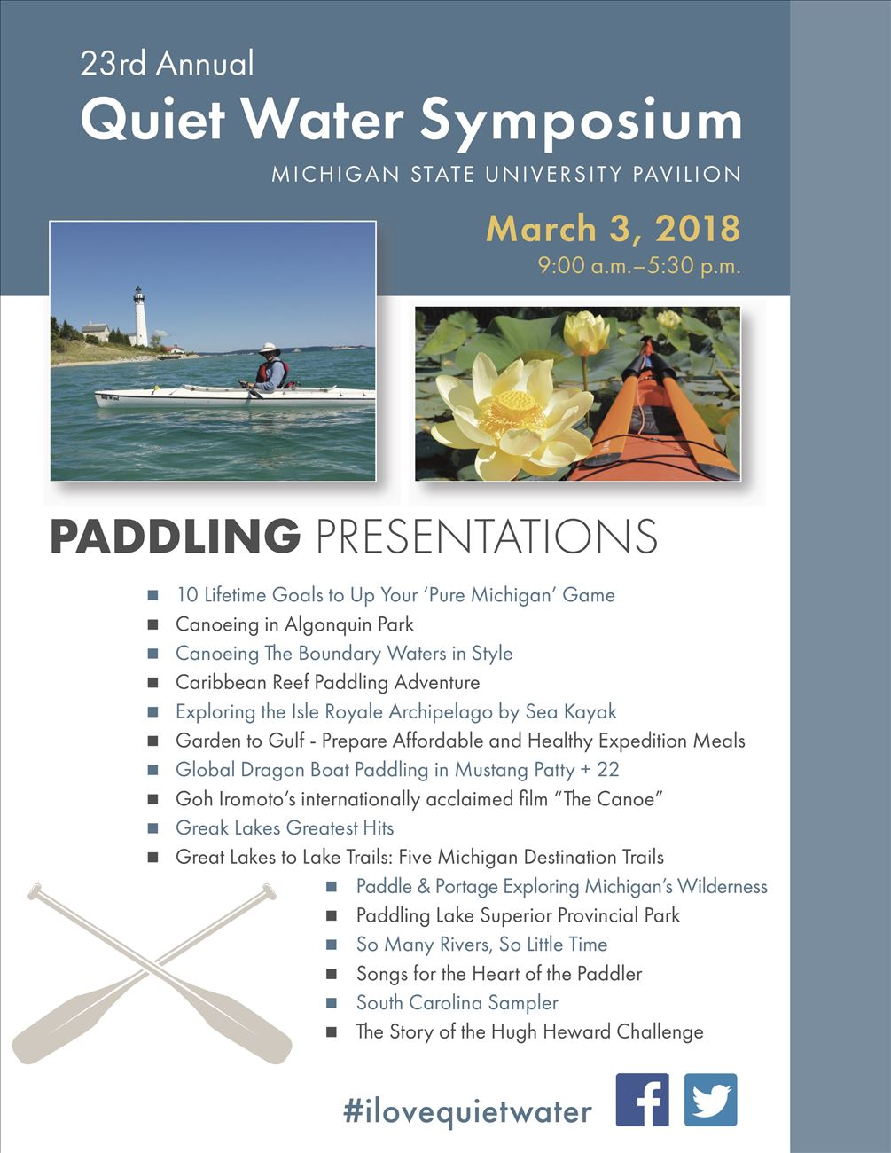 List of Paddling Presentations for the 2018 Quiet Water Symposium
