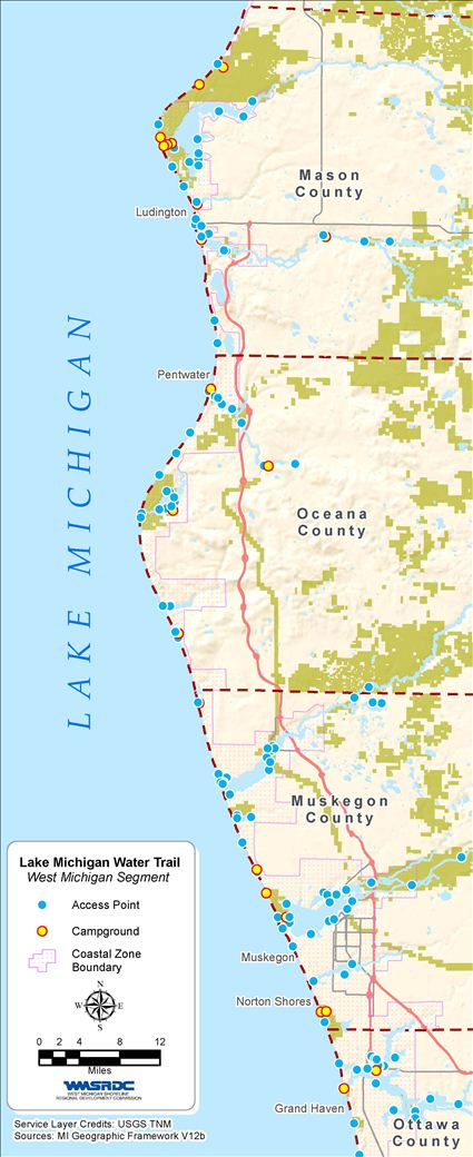 Lake Michigan Water Trail West Michigan Water Trails - Michigan coastline map