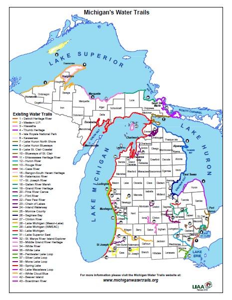 Www Michigan Map.Paddling In Michigan Michigan Water Trails